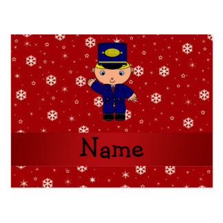 Personalized name train conductor red snowflakes postcard