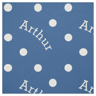 Personalized Name True Blue Classic Polka Dot Fabric