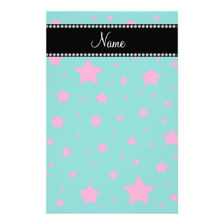 Personalized name Turquoise and Pink stars Customized Stationery