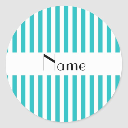 Personalized name turquoise and white stripes stickers