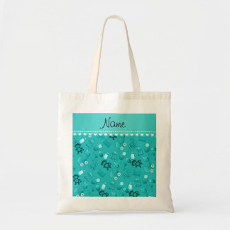 Personalized name turquoise baby animals budget tote bag