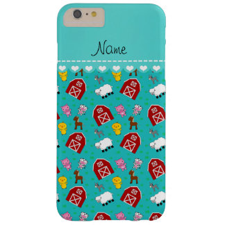 Personalized name turquoise barn animals barely there iPhone 6 plus case