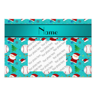 Personalized name turquoise baseball christmas photo art