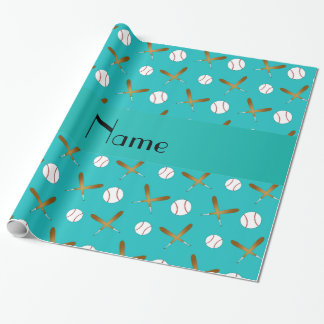 Personalized name turquoise baseball wrapping paper