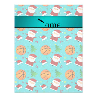 Personalized name turquoise basketball christmas flyer design