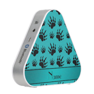 Personalized name turquoise bear paw prints