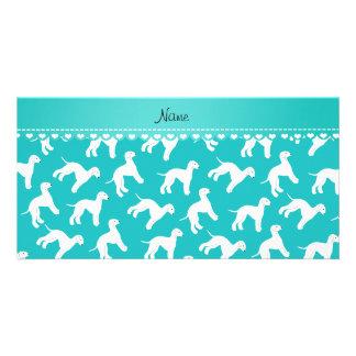 Personalized name turquoise bedlington terrier dog personalised photo card