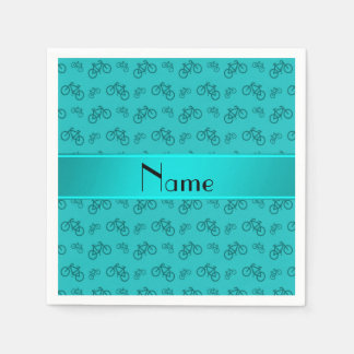 Personalized name turquoise bicycles paper serviettes