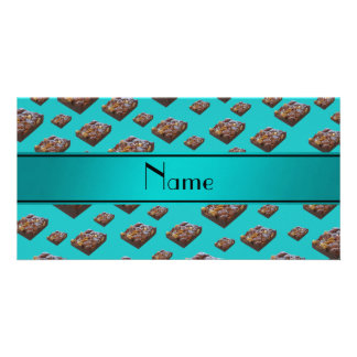 Personalized name turquoise brownies picture card