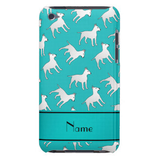 Personalized name turquoise bull terrier dogs iPod touch case