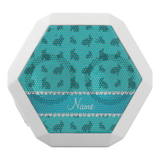 Personalized name turquoise bunnies white boombot rex bluetooth speaker
