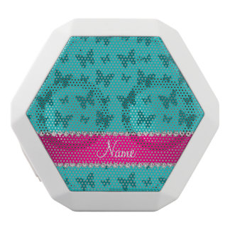Personalized name turquoise butterflies white boombot rex bluetooth speaker