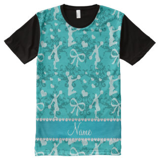 Personalized name turquoise cheerleading damask All-Over print T-Shirt