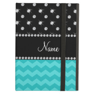 Personalized name turquoise chevrons black diamond case for iPad air
