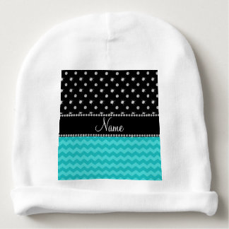 Personalized name turquoise chevrons black diamond baby beanie