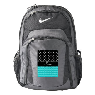 Personalized name turquoise chevrons black diamond backpack