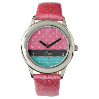 Personalized name turquoise chevrons pink diamonds wristwatches
