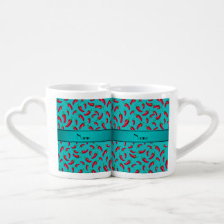 Personalized name turquoise chili pepper lovers mug sets