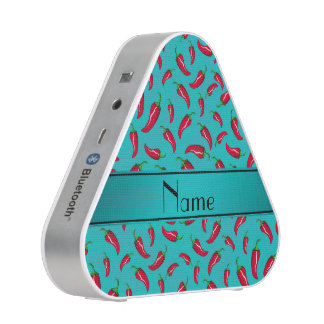 Personalized name turquoise chili pepper speaker