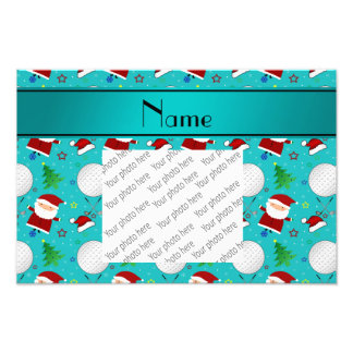Personalized name turquoise christmas golfing photographic print