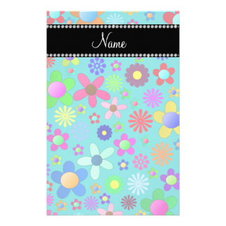 Personalized name turquoise colorful retro flowers stationery