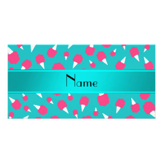 Personalized name turquoise cotton candy picture card