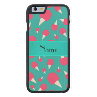 Personalized name turquoise cotton candy carved® maple iPhone 6 slim case
