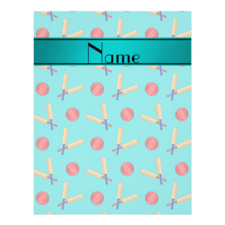 Personalized name turquoise cricket pattern 21.5 cm x 28 cm flyer