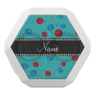 Personalized name turquoise crochet pattern white boombot rex bluetooth speaker