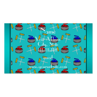 Personalized name turquoise curling pattern pack of standard business cards