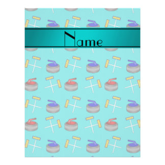 Personalized name turquoise curling pattern flyer