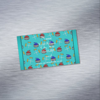Personalized name turquoise curling pattern magnetic business cards