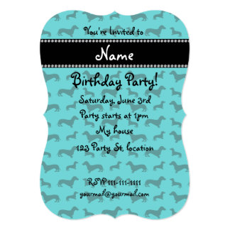 Personalized name turquoise dachshunds personalized invitation