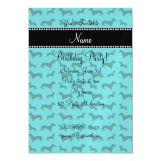 Personalized name turquoise dachshunds magnetic invitations