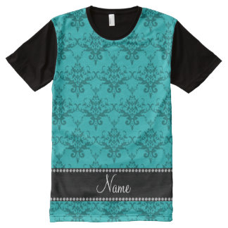 Personalized name Turquoise damask All-Over Print T-Shirt
