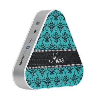 Personalized name turquoise damask speaker