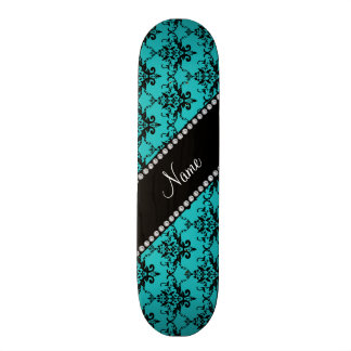Personalized name turquoise damask skate board deck