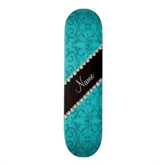 Personalized name turquoise damask swirls skateboard