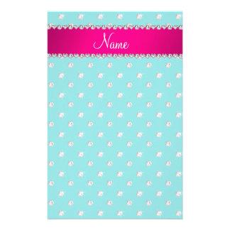 Personalized name turquoise diamonds pink stripe custom stationery