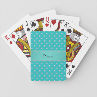 Personalized name turquoise diamonds playing cards