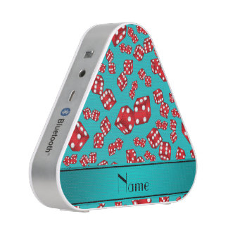 Personalized name turquoise dice pattern