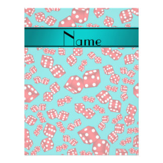 Personalized name turquoise dice pattern 21.5 cm x 28 cm flyer