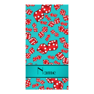 Personalized name turquoise dice pattern photo card
