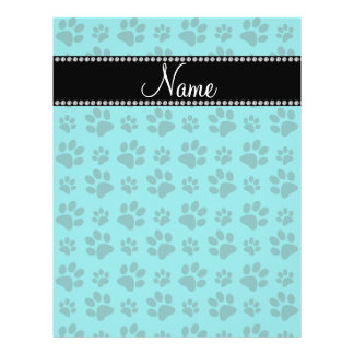 Personalized name turquoise dog paw prints flyer
