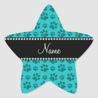 Personalized name turquoise dog paw prints star sticker