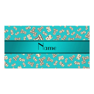 Personalized name turquoise dominos photo card template