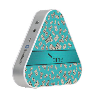 Personalized name turquoise dominos speaker