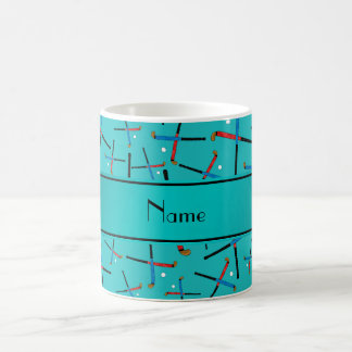 Personalized name turquoise field hockey mugs
