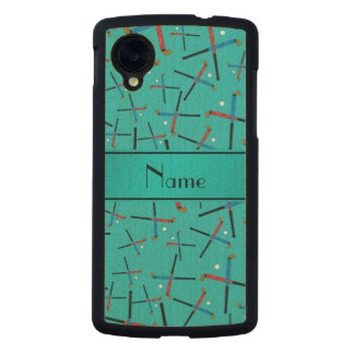 Personalized name turquoise field hockey carved® maple nexus 5 slim case