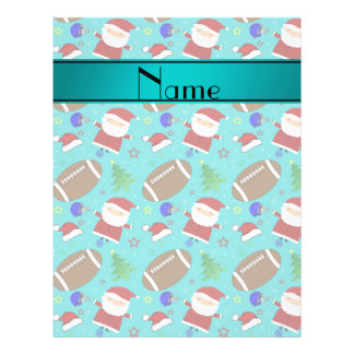 Personalized name turquoise football christmas personalized flyer